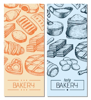 Homemade bakery product vintage flyers