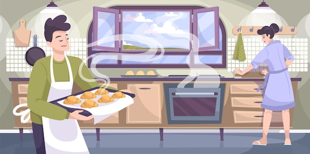 인간의 문자 일러스트와 함께 오븐과 구운 크로와상 집 부엌의 볼 수있는 수제 베이킹 구성