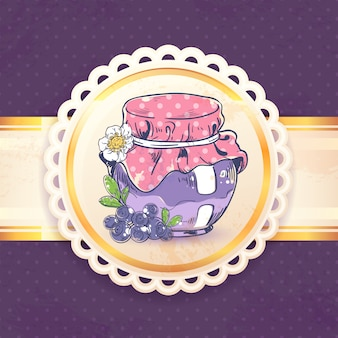 Homemade blueberry jam can retro with paper badge vector illustration