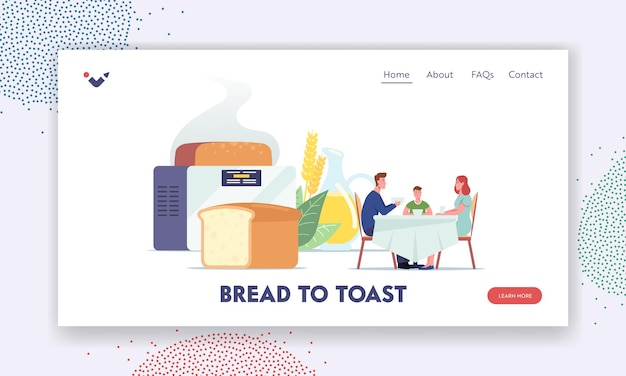 Homemade breadlanding page template. happy family characters sitting at table dining, eating near huge freshly baked loaf and elcetrical baker, home made food. cartoon people vector illustration