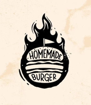 Homemade burger logos, label