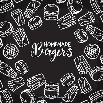 Homemade burgers background