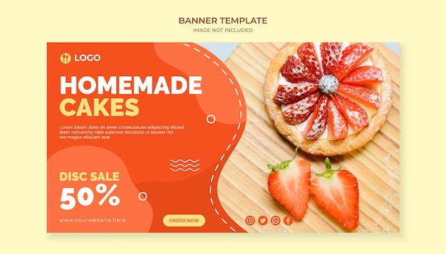Homemade cakes food banner template