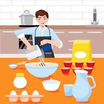 Домашние торты мужчина на кухне готовит кепки тортов для своей девушки