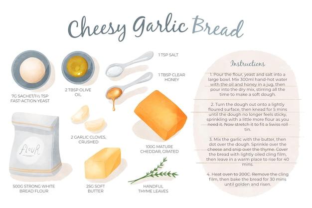 Homemade cheesy garlic bread recipe
