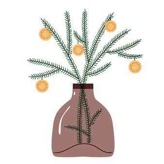 Самодельный новогодний декор с веточками и апельсином на ветке