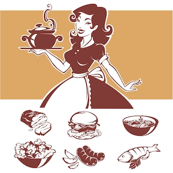 Homemade cooking,  illustraton of pinup housewife and common menu dishes
