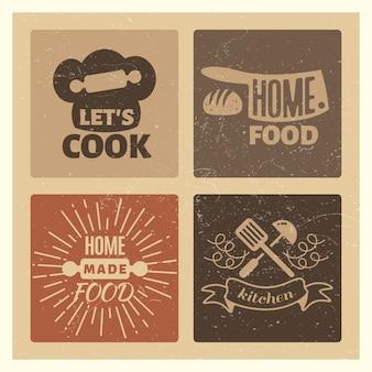 Домашняя еда и хлебобулочные винтажный гранж значок набор