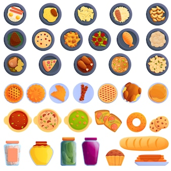 Homemade food icons set, cartoon style