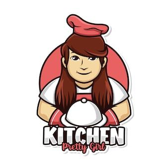 요리사 여자 주방과 접시 커버 마스코트 로고와 함께 만든 음식