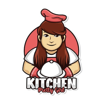 Homemade food with chef woman kitchen and dish cover mascot logo