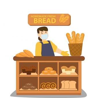 Homemade fresh baked bread seller illustration