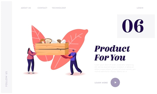 Homemade fungiculture growing hobby, harvesting landing page template