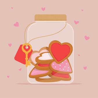 유리 항아리에 심 혼의 형태로 만든 생강 쿠키. 발렌타인 데이 선물로 달콤한 음식.