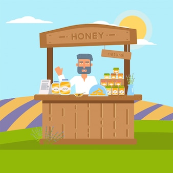 Homemade honey sale flat illustration isolated on nature