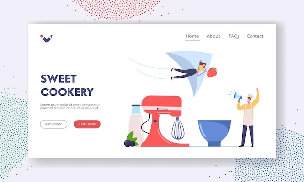Homemade ice cream landing page template. tiny male character in toque yell to megaphone call to try ice cream of fruits, berries and yoghurt. woman with strawberry. cartoon people vector illustration