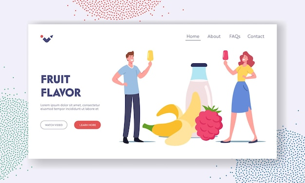 Homemade icecream landing page template. tiny characters with fruit ice cream popsicle at huge yoghurt bottle and fruits. summer delicious sweet dessert, cold treat. cartoon people vector illustration