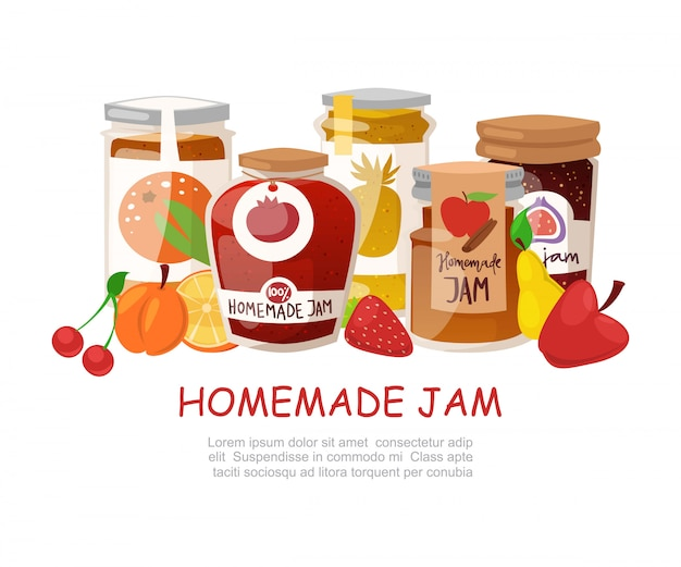 Homemade jam with fresh fruits and berry jam with rustic jars of jelly with paper cover, marmalade cartoon