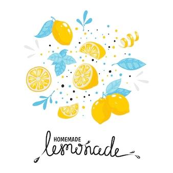 自家製レモネード手描きタイポグラフィ。レモンと夏のナチュラルコールドカクテル。ベクトル手作りドリンクスケッチレモンイラストステッカー