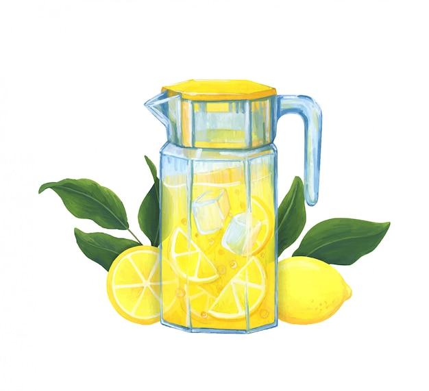 Домашний лимонад. иллюстрация с освежающим напитком из лимонов со льдом