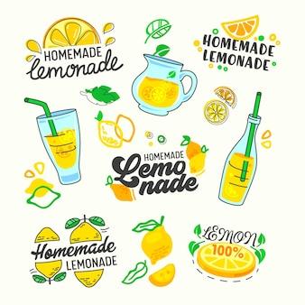 수제 레모네이드 설정 인쇄 술 및 낙서 요소. 만화 평면 그림
