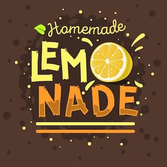 Homemade lemonade typographic logo label type design with sliced lemon