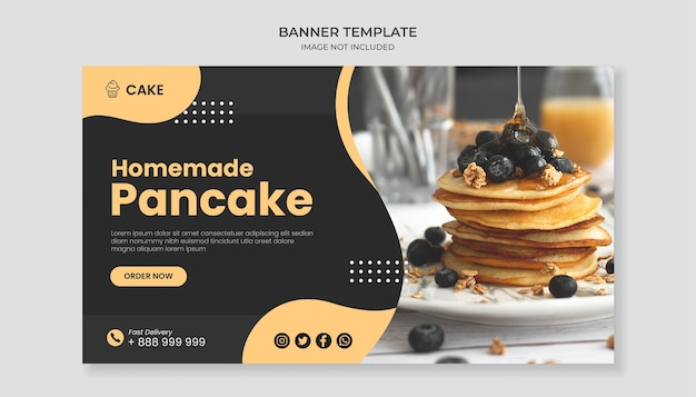 Homemade pancake food banner template