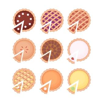 Домашний пирог и набор ломтиков пирога с различной фруктовой начинкой. плоский рисунок, изолированные на белом фоне. вид сверху.