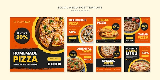 Homemade pizza social media post template for restaurant and cafe