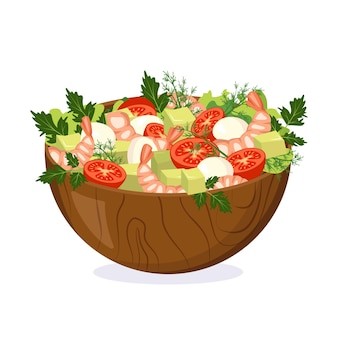 Homemade salad of fresh vegetables, herbs, shrimp and cheese in a wooden bowl. cooking delicious food at home. vector flat illustration.