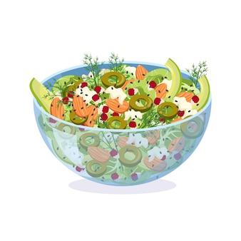 신선한 야채 허브 올리브와 치즈로 만든 홈메이드 샐러드와 아몬드 석류를 곁들인 유리 그릇 접시에...