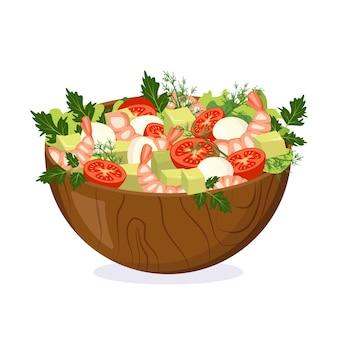 나무 그릇에 신선한 야채, 허브, 새우, 치즈로 만든 수제 샐러드. 집에서 맛있는 음식 요리하기. 벡터 평면 그림입니다.