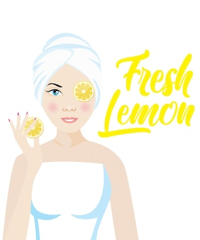 Homemade skin lightening (whitening) remedies and treatments with fresh lemon with white background