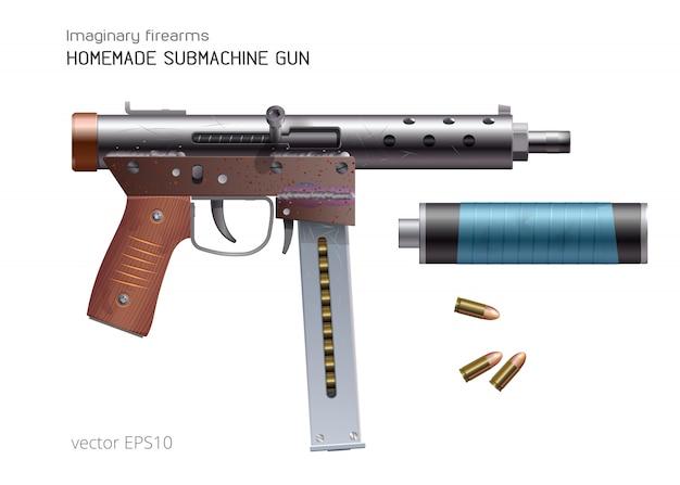 수제 기관단총. 벡터 현실적인 무기입니다. 거칠고 녹슨 자동 총기 및 9mm 라운드. 즉흥적 인 소음기는 파란색 덕트 테이프로 붕대를 감습니다.