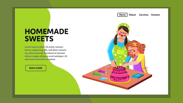 Homemade sweets prepare woman with girl vector. mother with daughter cook pastry home made creamy cake. characters family preparing natural ingredients dessert web flat cartoon illustration