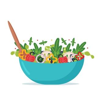Homemade vegan salad with a spoon inside. vegetarian dish. vector flat illustration