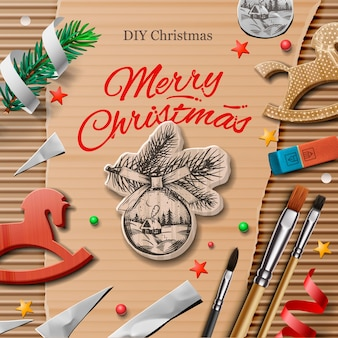 アートとクラフトの要素を持つ自家製の包まれたクリスマスプレゼント