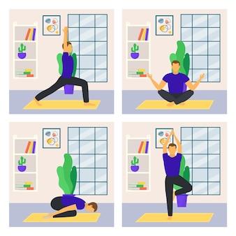 自家製ヨガ身体活動男性キャラクターワークアウトポスターカードセットアジアの練習フラットベクトルil ...