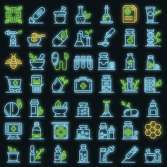 Homeopathy icons set. outline set of homeopathy vector icons neon color on black