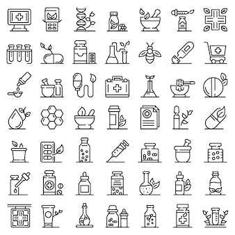 Homeopathy icons set, outline style