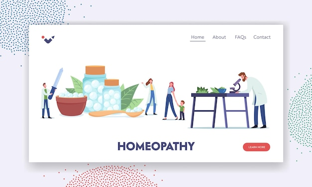 Homeopathy landing page template. pharmacists characters research alternative organic herbal medicine. natural plants healing power and usage in health treatment. cartoon people vector illustration