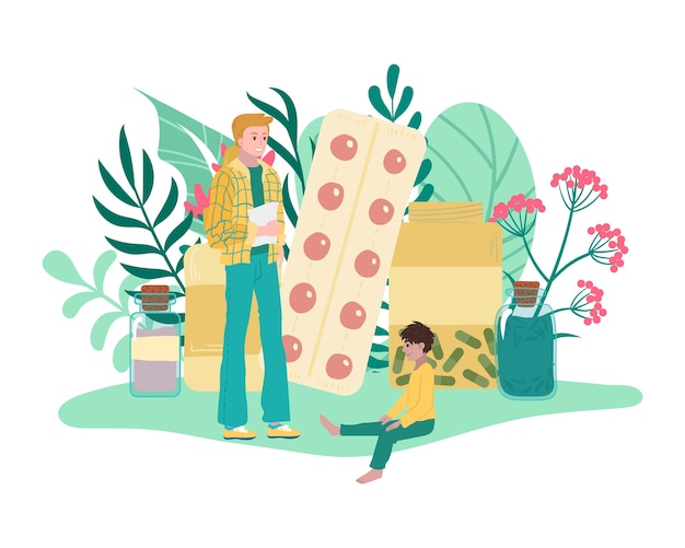 Homeopathy, medicines from plants, father and son use herbal medical treatment, healthy care,    illustration. alternative medicine, bio pharmacy, pharmaceutical therapy, herb.