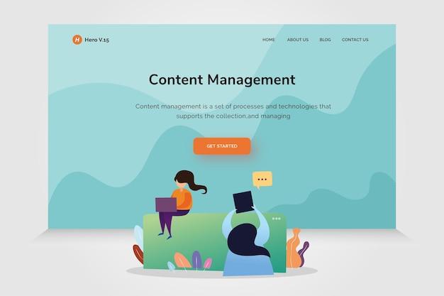 Вектор шаблона дизайна управления контентом домашней страницы