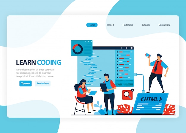 Домашняя страница для изучения программирования и кодирования. разработка приложений с простым языком программирования. плоская иллюстрация