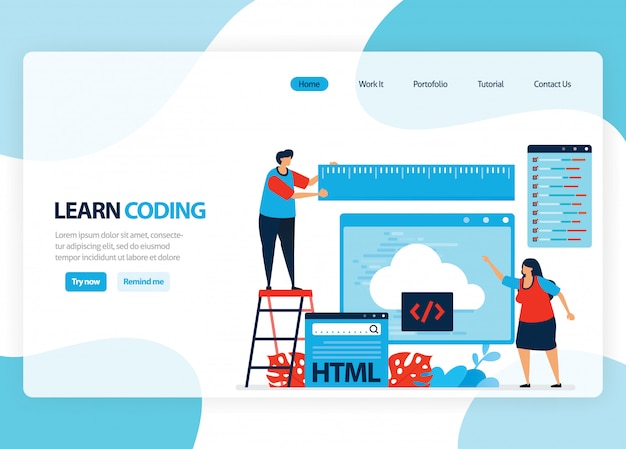 Homepage for learning programming and coding. application development with a simple programming language. flat illustration