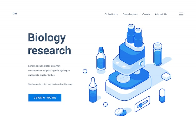 Homepage of modern internet resource about research in biology