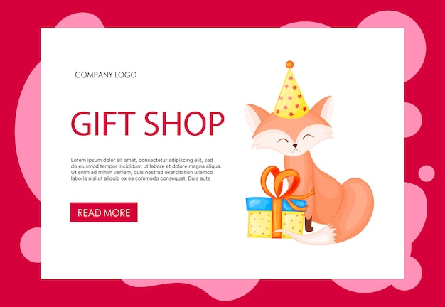 Homepage template for your site with cute fox. cartoon style. vector illustration.