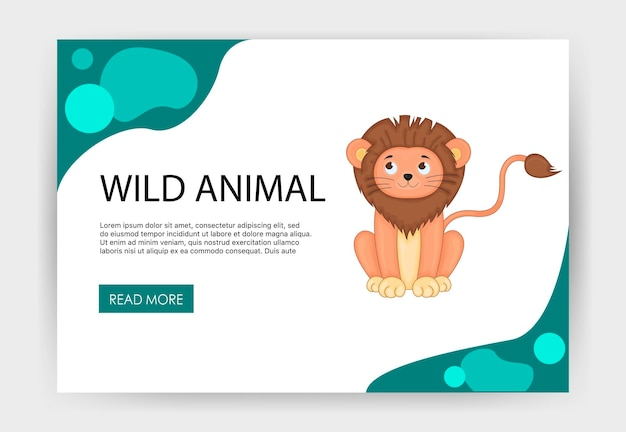 Homepage template for your site with cute lion. cartoon style. vector illustration.