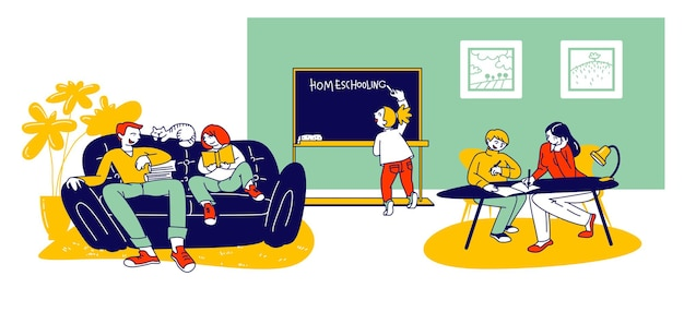 ホームスクーリングの概念。家庭教師や保護者と一緒に、リラックスした快適な環境で家庭で教育を受けている子供たち。漫画フラットイラスト
