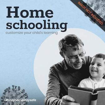 Homeschooling durante il modello di banner sociale della pandemia di coronavirus